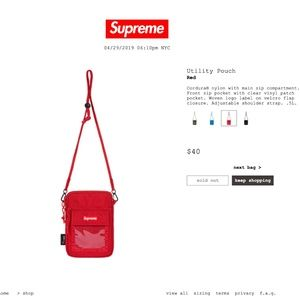 Supreme SS19 Red Utility Pouch